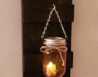 Rustic Wood Wall Sconce with Ball Mason Jar Candle Holder with Battery Candle