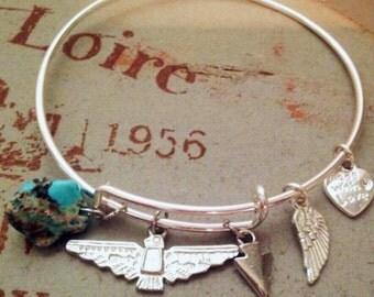 Boho charm bracelet/gypsy/thunder bird charm/turquoise/native american indian/south west/bohemian/birthday gift/sale