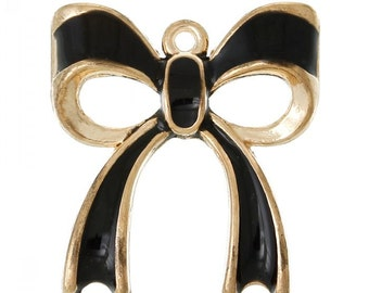 2  Gold Plated Enamel Bow Charms (1G-254)