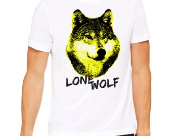 Cool Wolf Graphic Tee shirt Men Screenprinted Hipster Loner