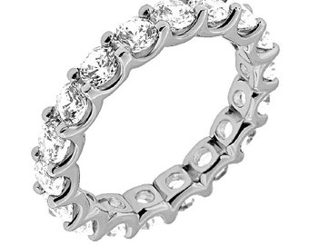 Eternity Ring, Diamond Eternity Ring, Diamond Eternity Band with Shared Prongs in 14K White gold. Classic Diamond Ring