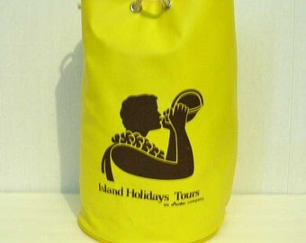 Vintage Hawaiian Vinyl Tote Bag Beach Bag