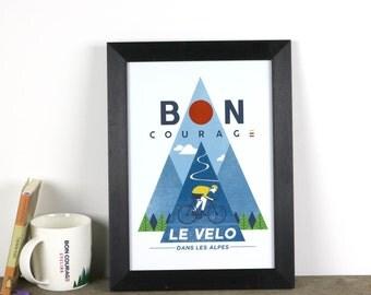 Le Velo dans les Alpes poster