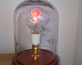 Decorative glass bell jar table lamp