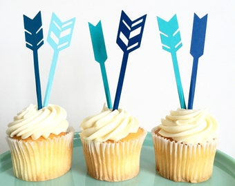 Arrow Cupcake Toppers - Blue (set of 12)