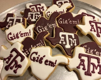 Texas A & M Decorated Sugar Cookies 2 dozen
