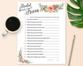 Bride Trivia Game for Bridal Shower - Floral Theme - Instant Printable Download