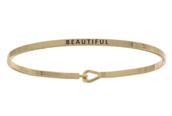 Gold Inspirational Bracelet, Beautiful Word Bracelet, Gold Mantra Bracelet, Mantra Band, Gold Bracelet, Word Bracelet, Bangle Bracelet