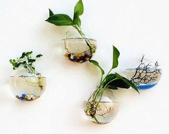 Set of 4 empty glass wall bubble terrariums// indoor wall vase//bubble glass bowl for art wall decor,house wall ornaments