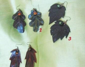 Earrings leaves, Autumn Earrings, autumn leaf Earrings, leather leaves Earrings, leather Autumn leaves Earrings, leaf Earrings autumn, Leaf