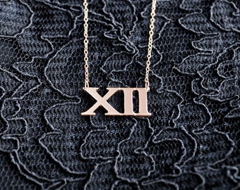 Sterling silver mini roman numberal necklace (17003)