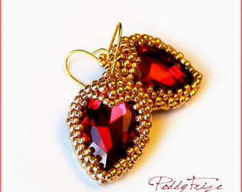 Earrings Heart of Gold Beads Red Crystal Gift for Girlfriend Gift for Valentine for Wife Romantic Gifts For Her