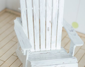 Shabby chic 1/4 size MSD BJD miniature Adirondack Chair/ beach chair-. Roombox, diorama dollhouse