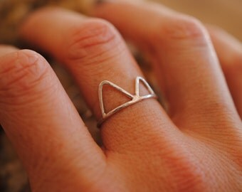 Double Mountain Ring | Sterling Silver | Stacker