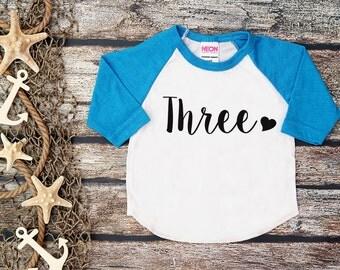Third Birthday Shirt;Girl's Birthday;3 Birthday;Three;Three Birthday Shirt;Girl Baseball shirt;Blue Birthday Shirt;3rd Birthday
