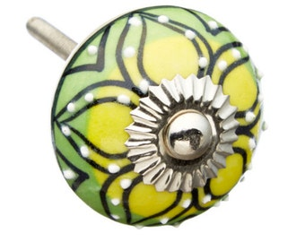 Yellow & Green with Raised White dots Dresser, Drawer, Door or Cabinet Knob Pull - m253y