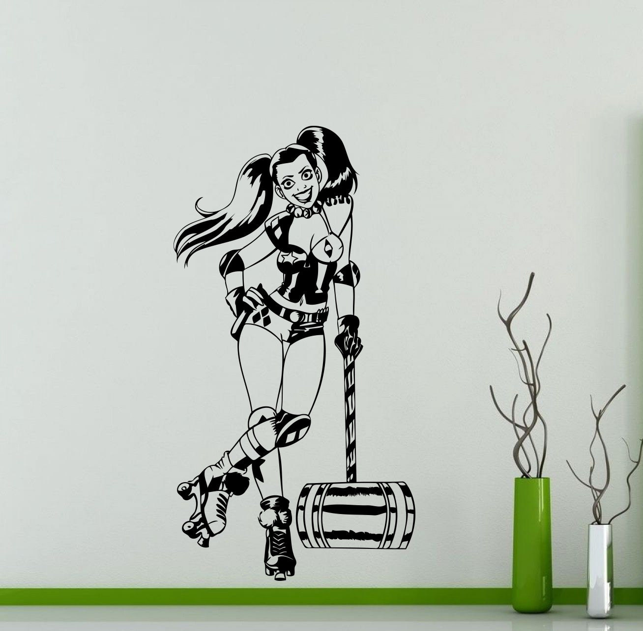 Harley quinn wall decal roller derby dc marvel comics zoom amipublicfo Gallery
