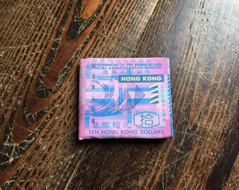 Slim Coated Canvas Hong Kong 10 Dollar Wallet - Womens Wallet Mens Wallet Minimalist Wallet Unisex Wallet Unique Gift