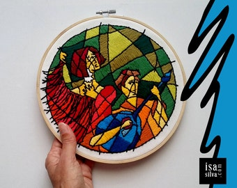 Embroidery Hoop Art-Fado-Embroidery with frame