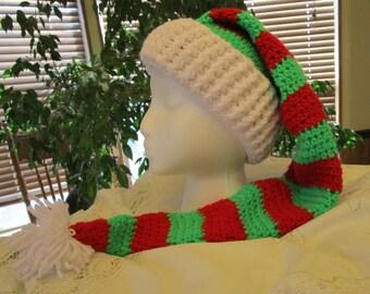 Crochet Cap, Holiday Elf Hat