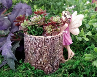 Miniature Stump Planter with Fairy in Purple