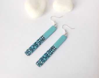 Turquoise Earrings ,Polymer Clay Earrings , Dangle drop earrings, Modern earrings, Ombre earrings, Contemporary jewelry ,Minimalist earrings