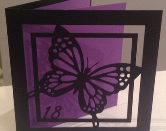 Customised papercut birthday card - choose your colour and age 18 21 30 40 50 60 or any other age