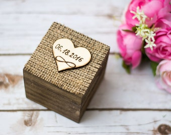 Rustic Wedding Ring Box Burlap Ring Box Bearer Ring Holder Personalized Ring Box with Burlap Rustic ring box Infinity