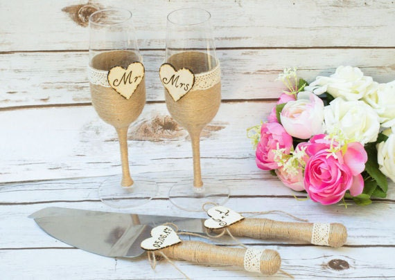 Toasting Glasses Flutes Rustic Cake Serving Set By