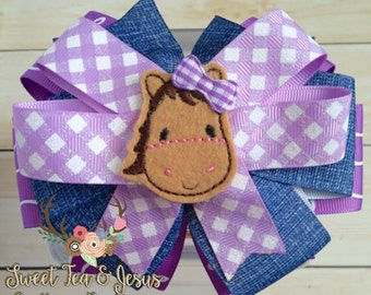 Horse Bow - Country Bow - Rodeo Horse Hairbow - Cowgirl Birthday Bow - Purple and Denim Bow - Denim Cowgirl Bow - Country Girl Bow- Farm Bow