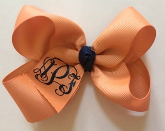 You Choose Colors and Font...Medium Monogrammed Hair Bow…Personalized 4 Inch Boutique Bow with Vinyl Monogram or Initial