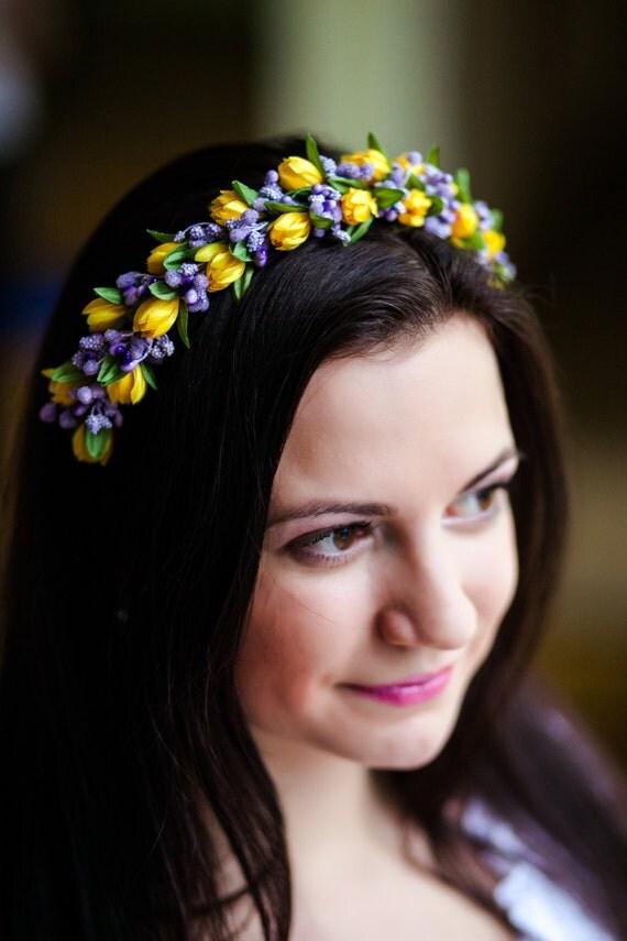Spring floral crown with yellow tulip and light purple/ light blue color/ gold flower headband Ukraine/ tulip girl headpiece/vinok