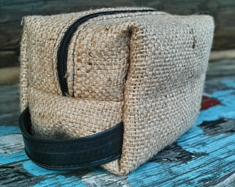 Burlap Travel Case-Cosmetic Bag-Coffee Bean Bag-Recycled Coffee Sack