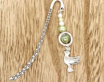 Dove Bird Silver Tone Beaded Bookmark