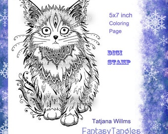 Little Cat - Doodle/Zentangle Ausmalbild DigiStamp Adult Coloring