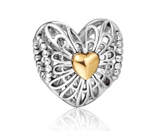Open Work Heart Charm for European Bracelet *Compatible with Pandora