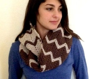 Knit Cowl, Long Knit Cowl with Chevron Design, Hand Knit Cowl Scarf, Brown Knit Cowl Scarf