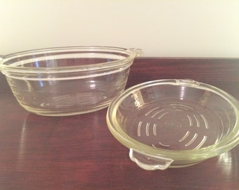 1920s/30s Original Clear Agee Pyrex, Casserole and Vegetable Dish, Scalloped Handles and Ribbed Design
