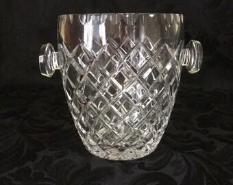 Vintage Lead Crystal Ice Bucket, Diamond Design