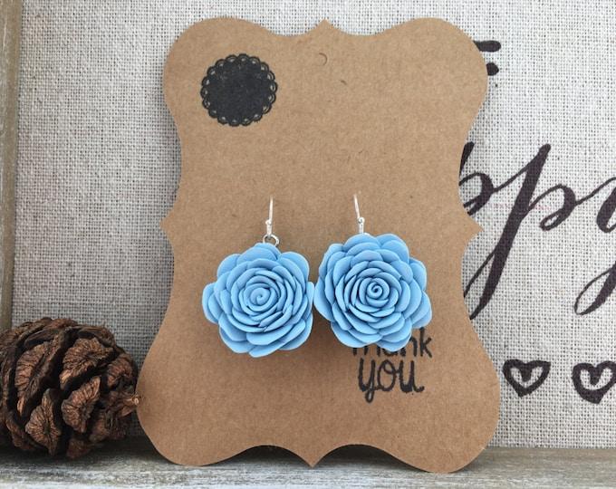 Silver rose earrings, Bridal jewelry, Pastel jewelry, Blue flower earrings, Wedding earrings, Blue rose jewellery, Flower girl earrings