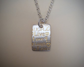 LIVE LOVE LAUGH Necklace - Silver And Gold - Mothersday - Qoute Necklace