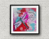 Dragonfly Painting - Dragonfly Print - Messages from Dragonfly - Spirit Animal - Home Decor - Meditation Altar - Home Decor - Mixed Media