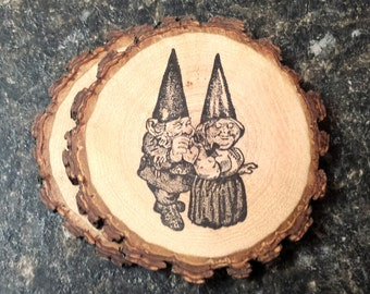 Gnome Couple Handcrafted Natural Wood Coaster Set of 2