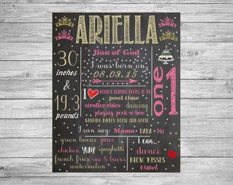 First Birthday Chalkboard/1st Birthday/First Birthday Chalkboard poster/Princess/Crown/Tiara/Decorations/Printable Custom Sign/Pink/Gold