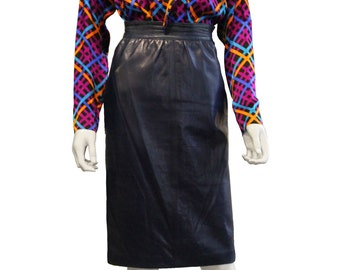 Navy Leather YSL Pencil Skirt