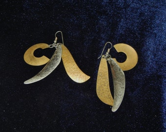 Brass and Silver Pierced Earrings - FREE Shipping