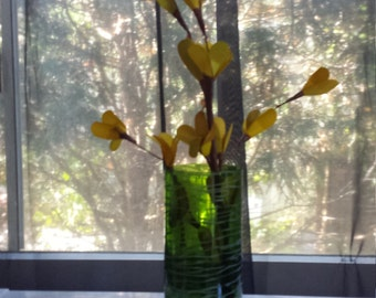 Upcycled handcut wine bottle vase
