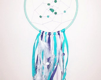 dream catcher, purple and blue, feathers, beads