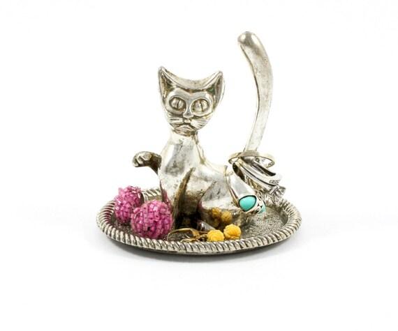 Amigurumi Kitty Ring Holder : Vintage Cat Ring Holder / Ring Dish / Ring Tree / Jewelry