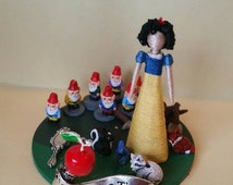"""First in Series, """"Fairytale Dioramas."""" Snow White, tiny toothpick doll diorama/paperweight, bookshelf decoration"""
